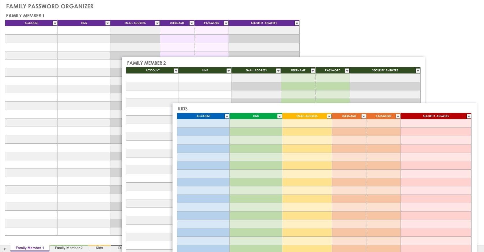 Free Password Templates And Spreadsheets   Smartsheet with regard to Free Printable Password Organizer Sheets