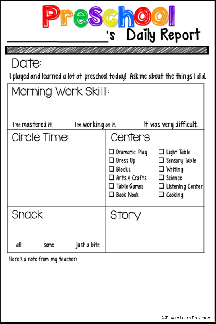 Free Preschool Daily Report From Play To Learn Preschool | Classroom for Free Printable Template Daily Report For Parents