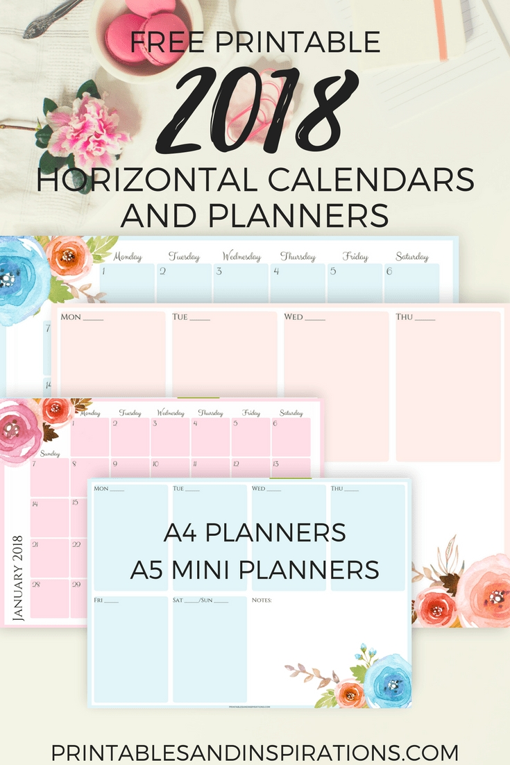 Free Pretty 2018 Horizontal Calendar And Floral Planner Printables for Monday Through Sunday Weekly Horizontal Calendar