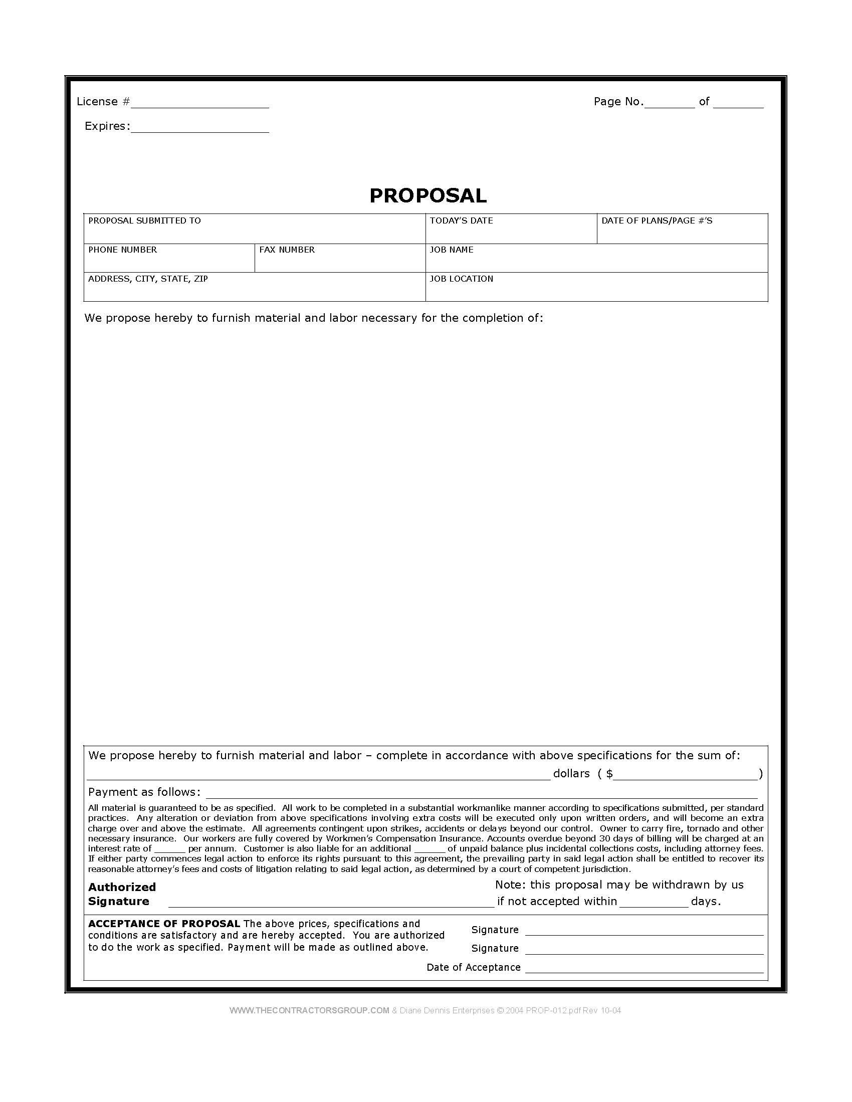 Free Print Contractor Proposal Forms | Construction Proposal Form for Paint Proposal Template Word Doc