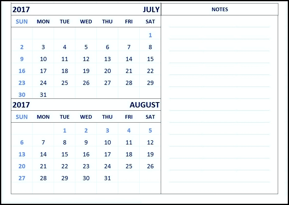 Free Print June July August 2017 Calendar Template with regard to Printable July Through August Calendars