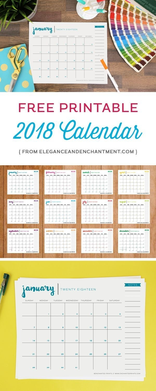 Free Printable 2018 Calendar   Get Organized!   Calendar, Calendar with Free Printable Year Long Calendar