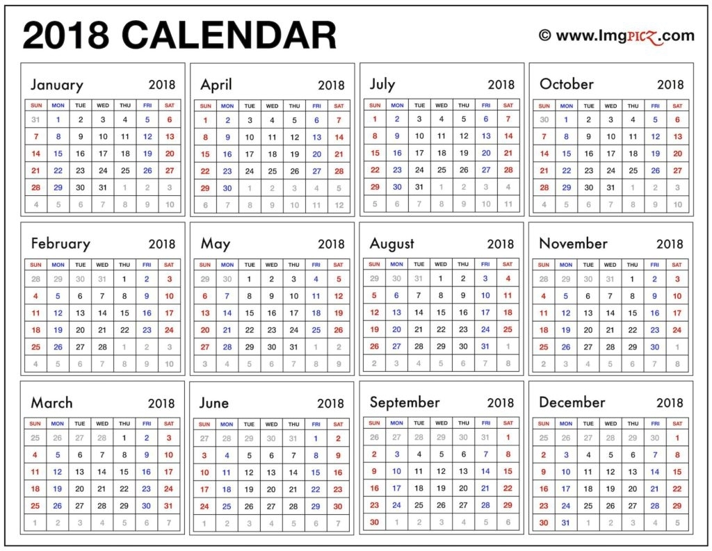 Free Printable 2018 Calendar One Page Year At A Glance – Printable regarding Free Printable Calendar Year At A Glance Calendar