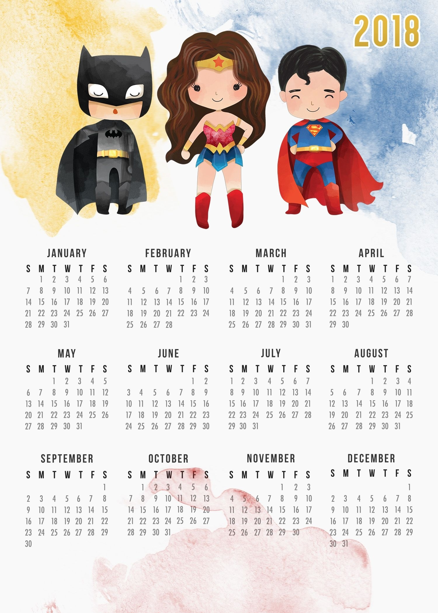 Free Printable 2018 Justice League Calendar | Creativity | Calendar intended for Free Printable Adult Superhero Calendars