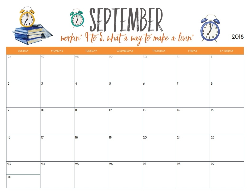 Free Printable 2018 Monthly Calendar | Max Calendars in Free Printable September Blank Calendars With Christian Themes