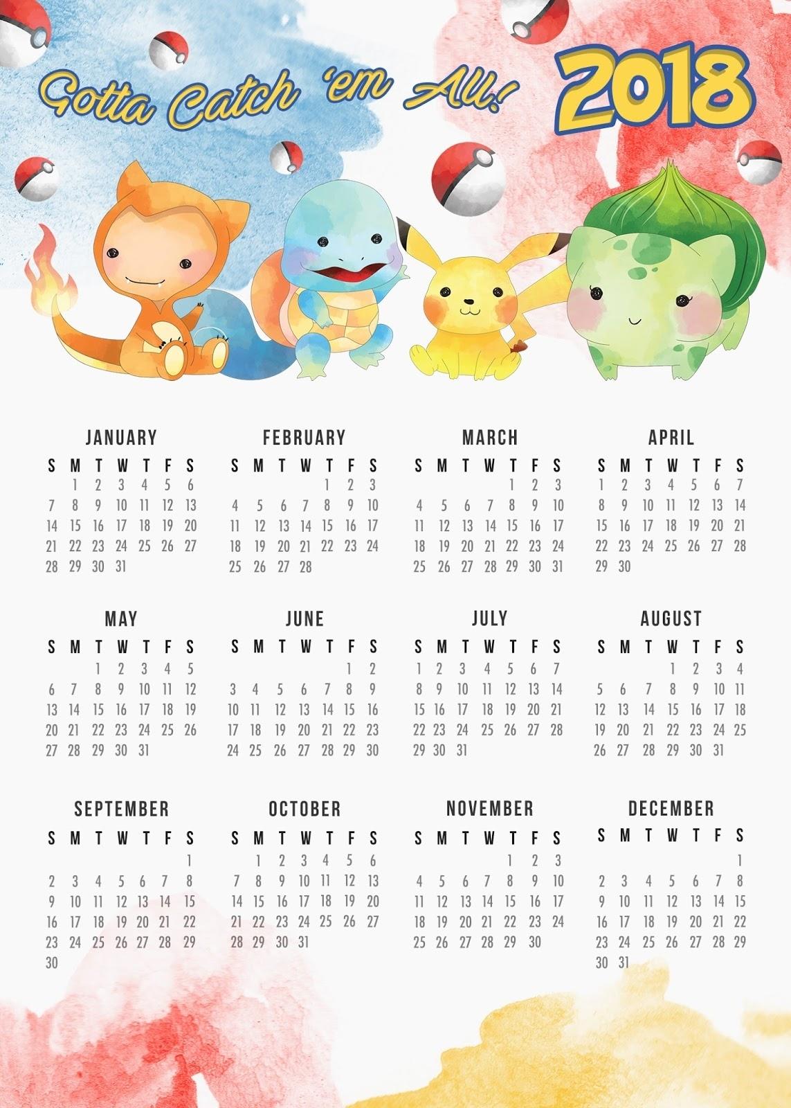 Free Printable 2018 Pokemon Calendar. - Oh My Fiesta! For Geeks with regard to Free Printable Adult Superhero Calendars