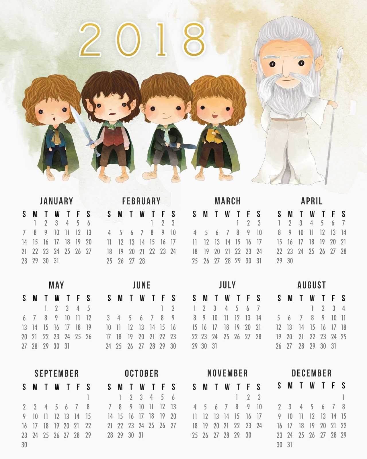 Free Printable 2018 The Lord Of The Rings Calendar. - Oh My Fiesta with regard to Free Printable Adult Superhero Calendars