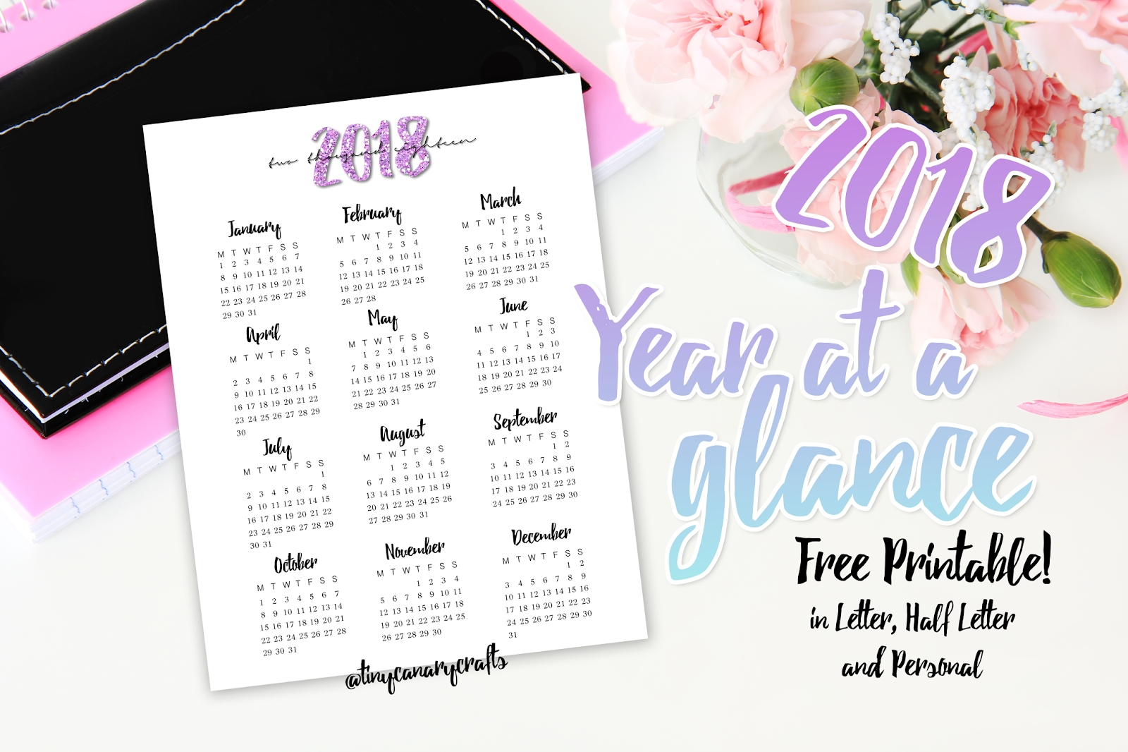 Free Printable : 2018 Year At A Glance (Letter, Half Letter/a5 within Year At A Glance Free
