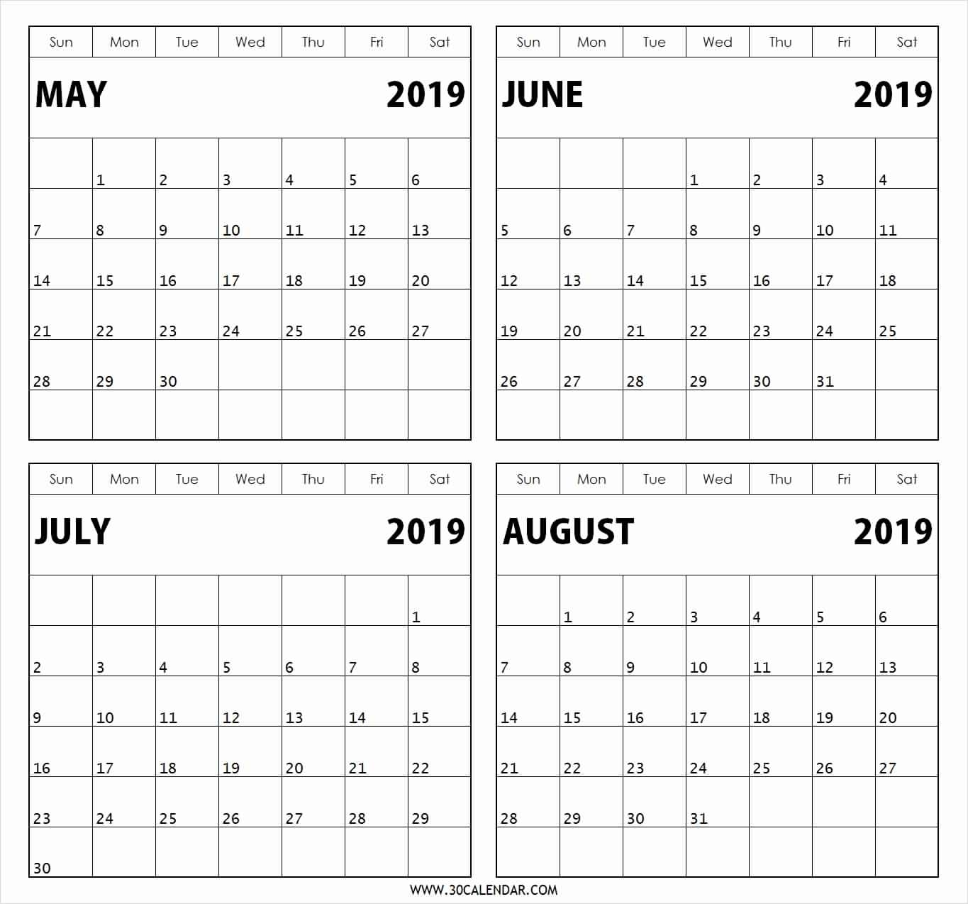Free Printable 2019 4 Months Per Page Calendar Download | July 2018 with Printable Calendar 6 Months Per Page