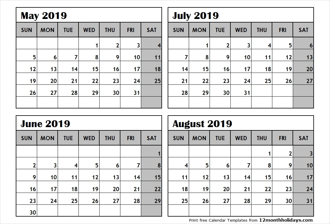 Free Printable 2019 4 Months Per Page Calendar Download June 2018 with regard to 3 Month Per Page Calendar