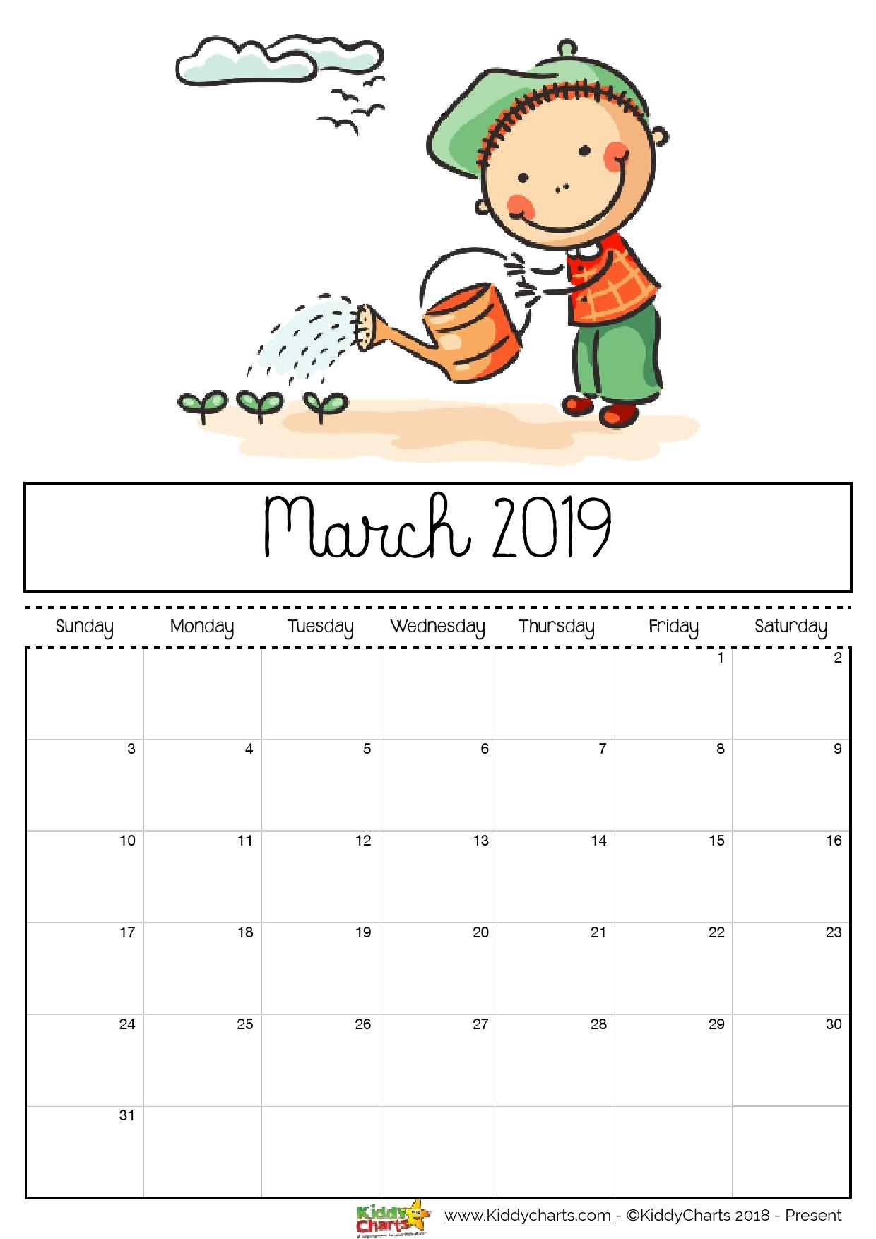 Free Printable 2019 Calendar - Print Yours Here | Kiddycharts regarding Monthly Planner Template For Children