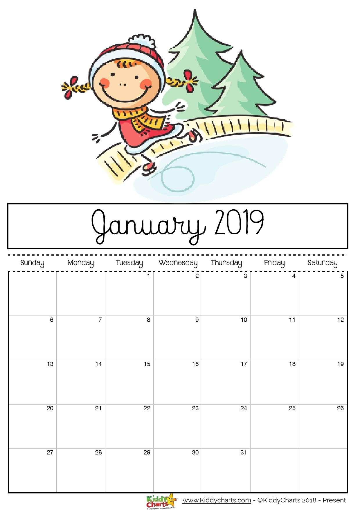 Free Printable 2019 Calendar - Print Yours Here | Kiddycharts with regard to Monthly Planner Template For Children