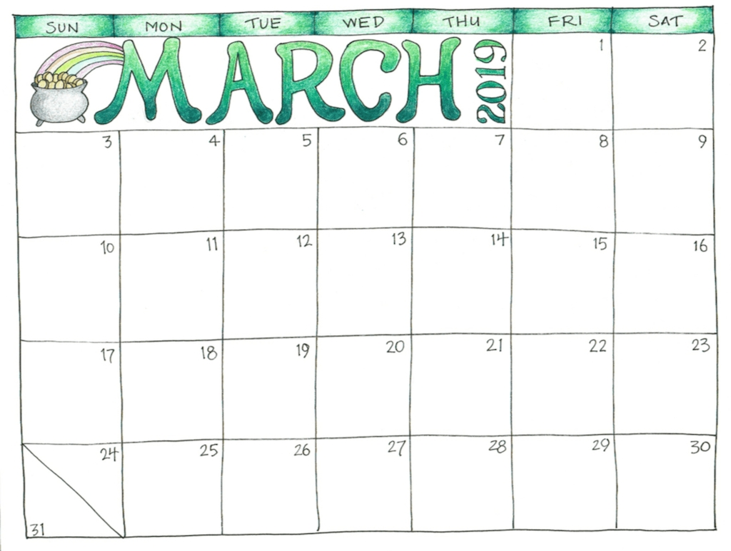 Free Printable 2019 Scrapbooking Calendars | Calendars | March with regard to March Childrens Calendar Watercolor Png