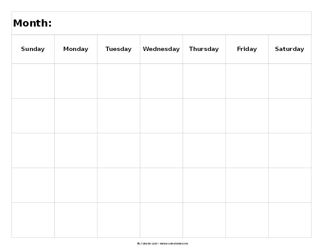 Free Printable 5 Day Monthly Calendar - Maco.palmex.co inside 5 Day Week Monthly Calendar Templates