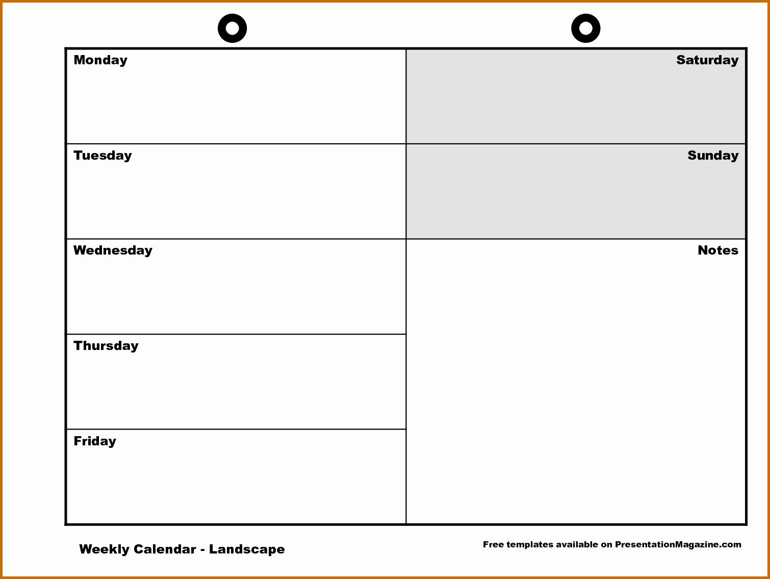 Free Printable 5 Day Weekly Calendar 11 Monday Through Friday with regard to Monday Through Friday Weekly Calendar