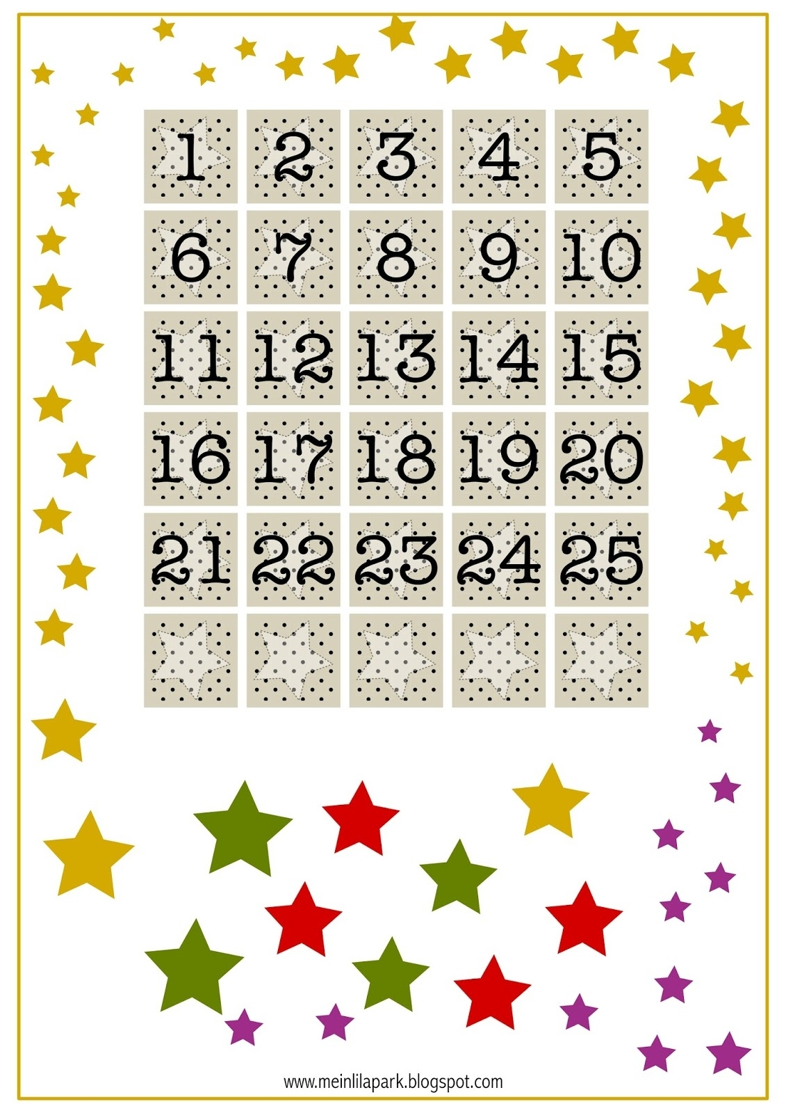 Free Printable Advent Calendar Numbers - Ausdruckbarer within Advent Calendar Printable Numbers Calendar Template