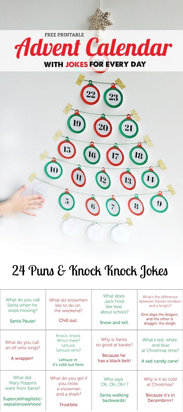 Free Printable: Advent Calendar With Jokes For Every Day | 20 Must inside Free Printable Blank Advent Activities List Minimal