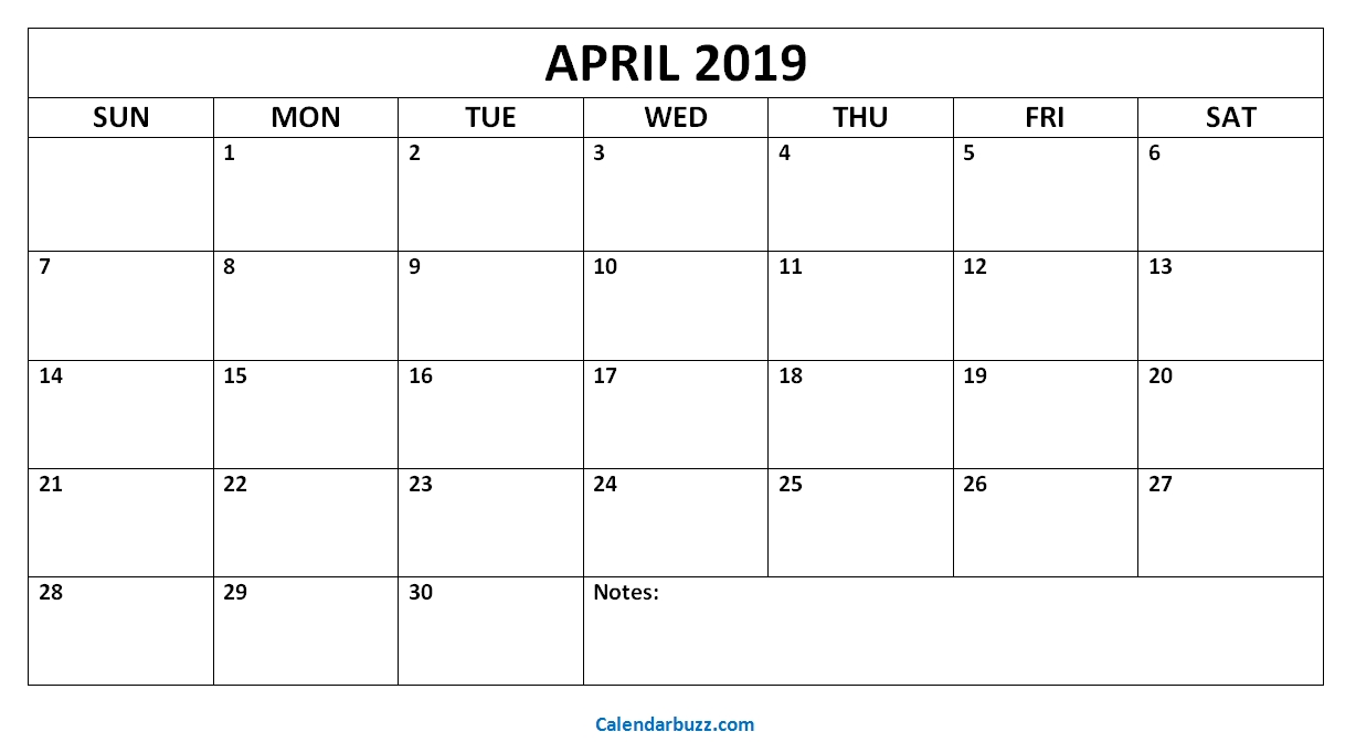 Free Printable April 2019 Calendar Template Word within Blank Screensaver Template To Print