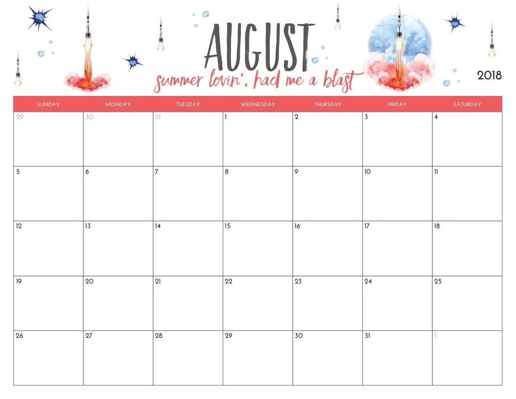 Free Printable August 2018 Monthly Calendar | ✨✨ Organization 2 within Month Of August On A Calendar