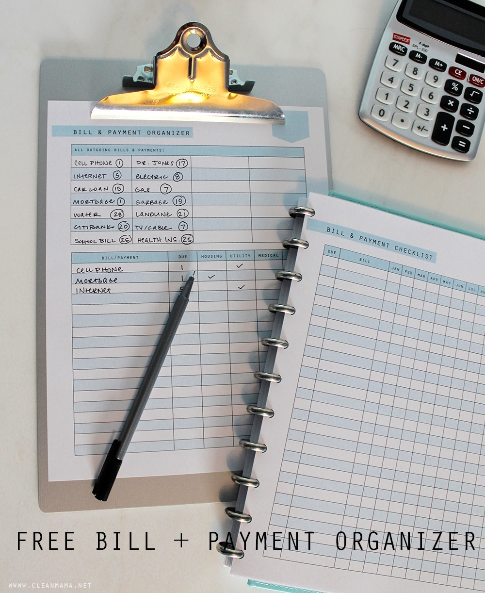Free Printable - Bill And Payment Organizer - Clean Mama intended for Month At A Glance Bill Organizer