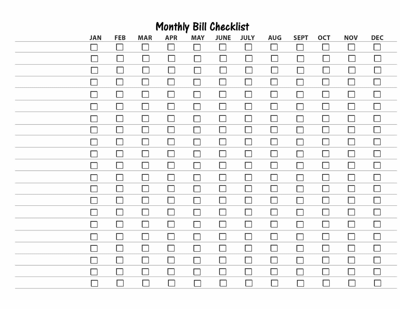 Free Printable Bill Payment List And Bill Payment Checklist Pdf pertaining to Free Printable Bill Organizer Monthly Bill Pay