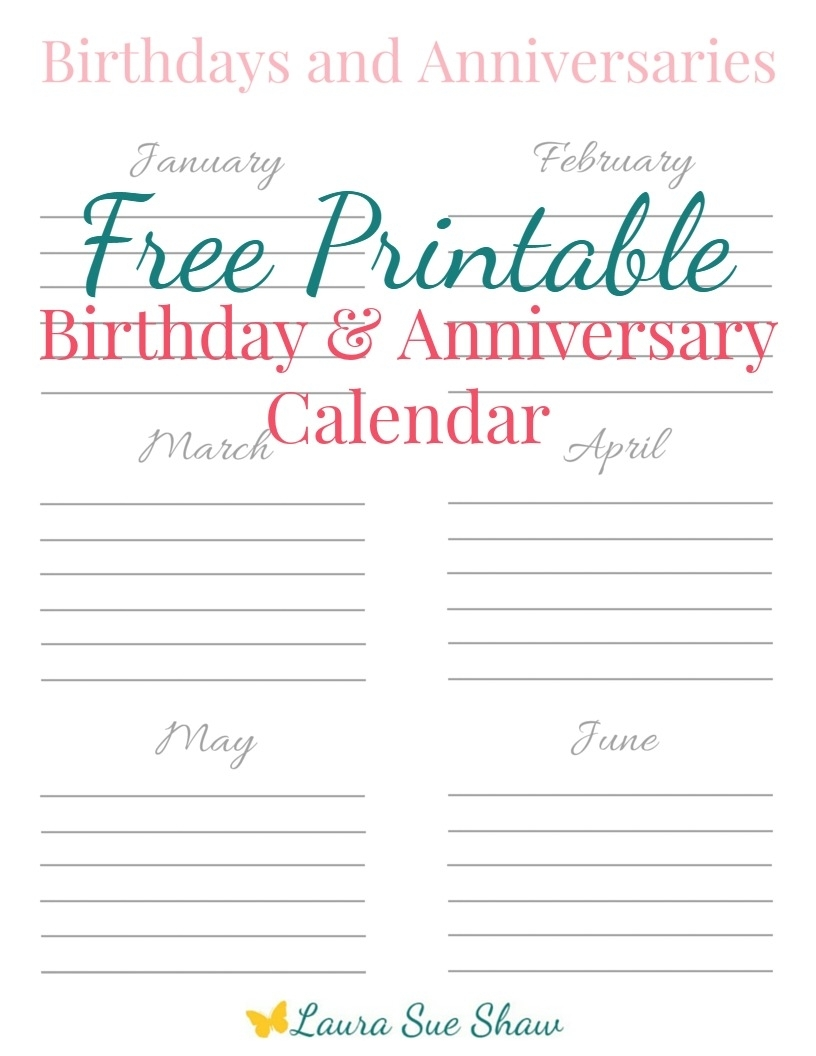 Free Printable Birthday & Anniversary Calendar - Laura Sue Shaw inside Free Printable Birthday Calendar Yearly