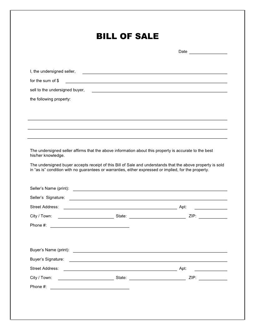 Free Printable Blank Bill Of Sale Form Template - As Is Bill Of Sale intended for Template For Bills To Print