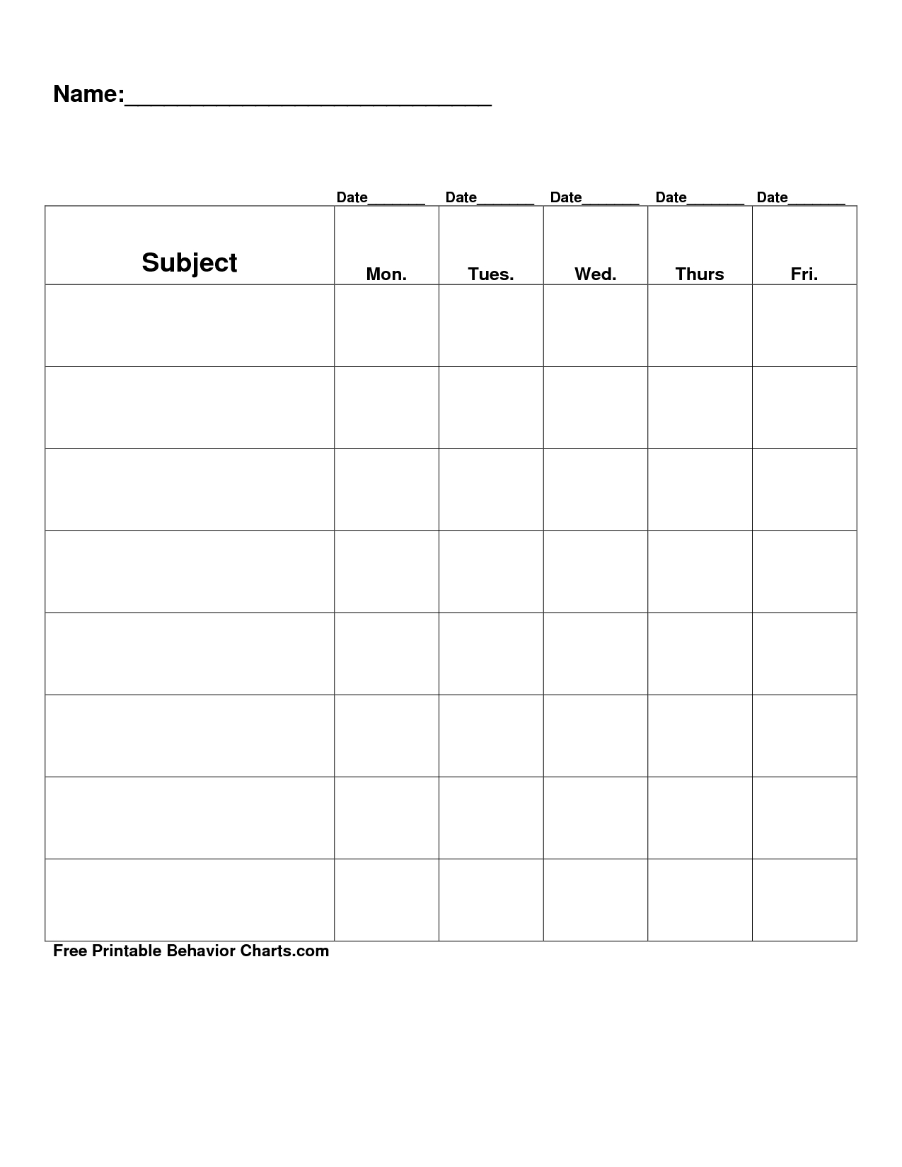 Free Printable Blank Charts | Free Printable Behavior Charts Com regarding Free Printable Blank Behavior Charts