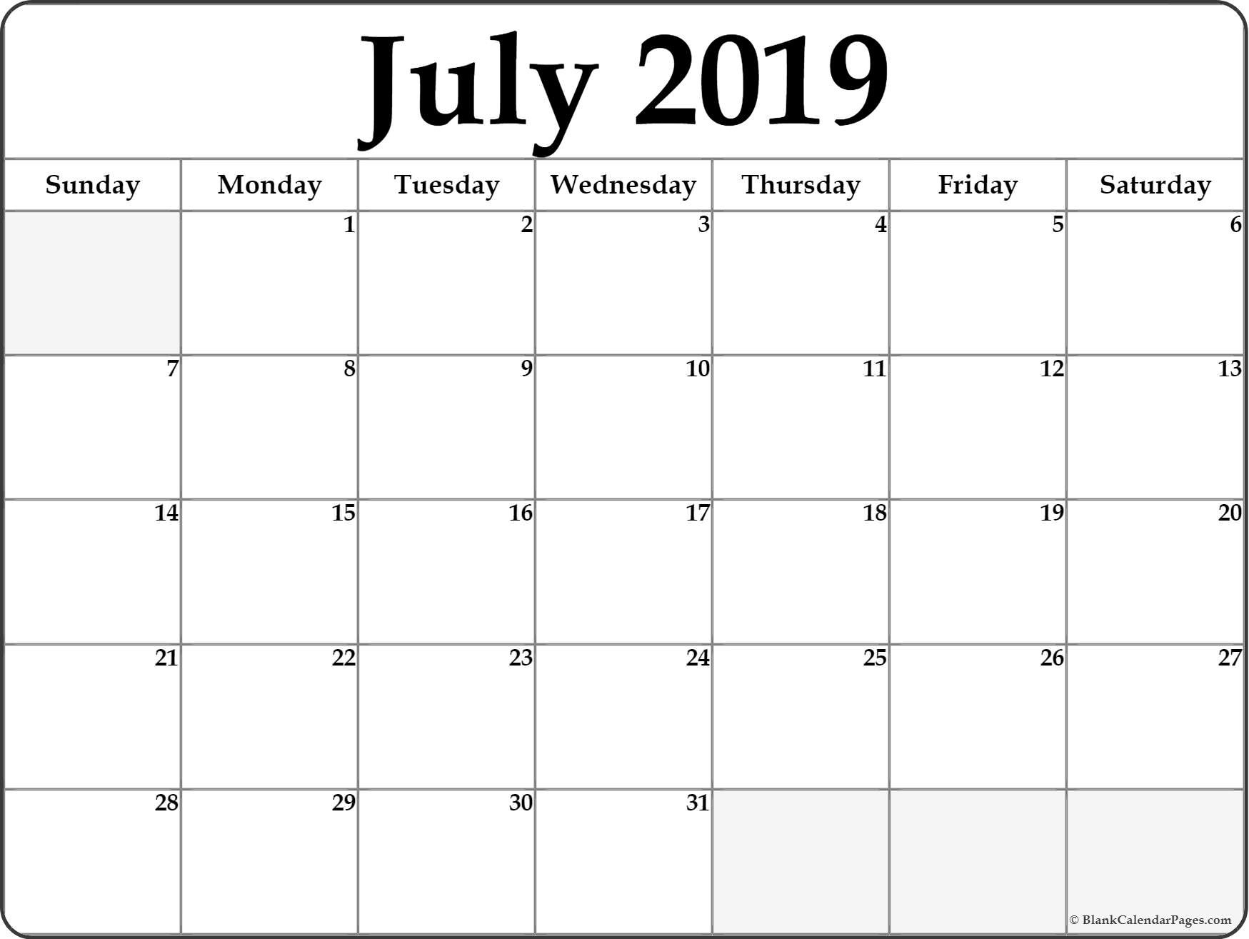 Free Printable Blank Monthly Calendar 2019 July 2019 Blank Calendar with Fill In Monthly Calendar Printable