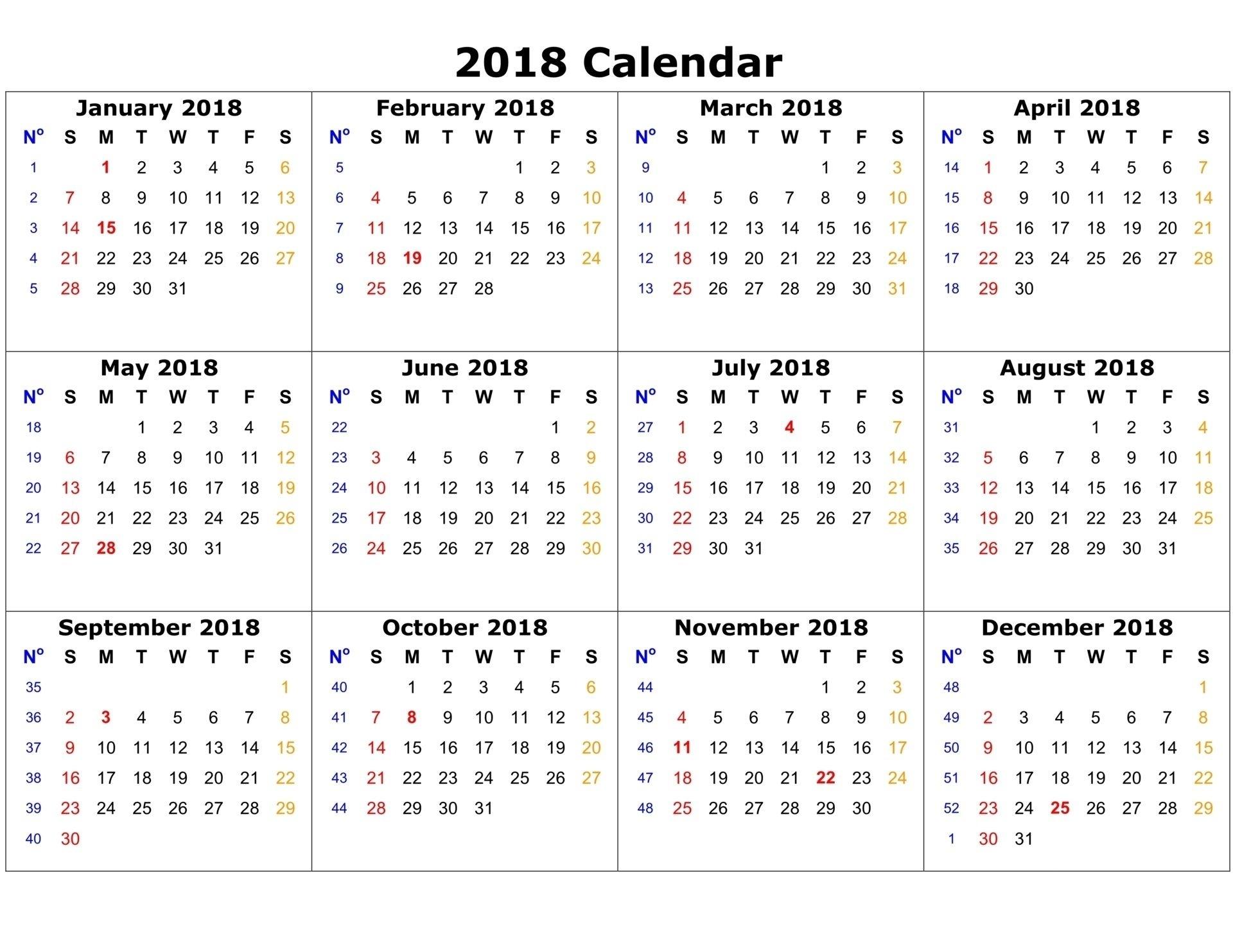 Free Printable Calendar 2018 | Printable Calendar | 2018 Calendar throughout 3 Month Printable Calendar Online