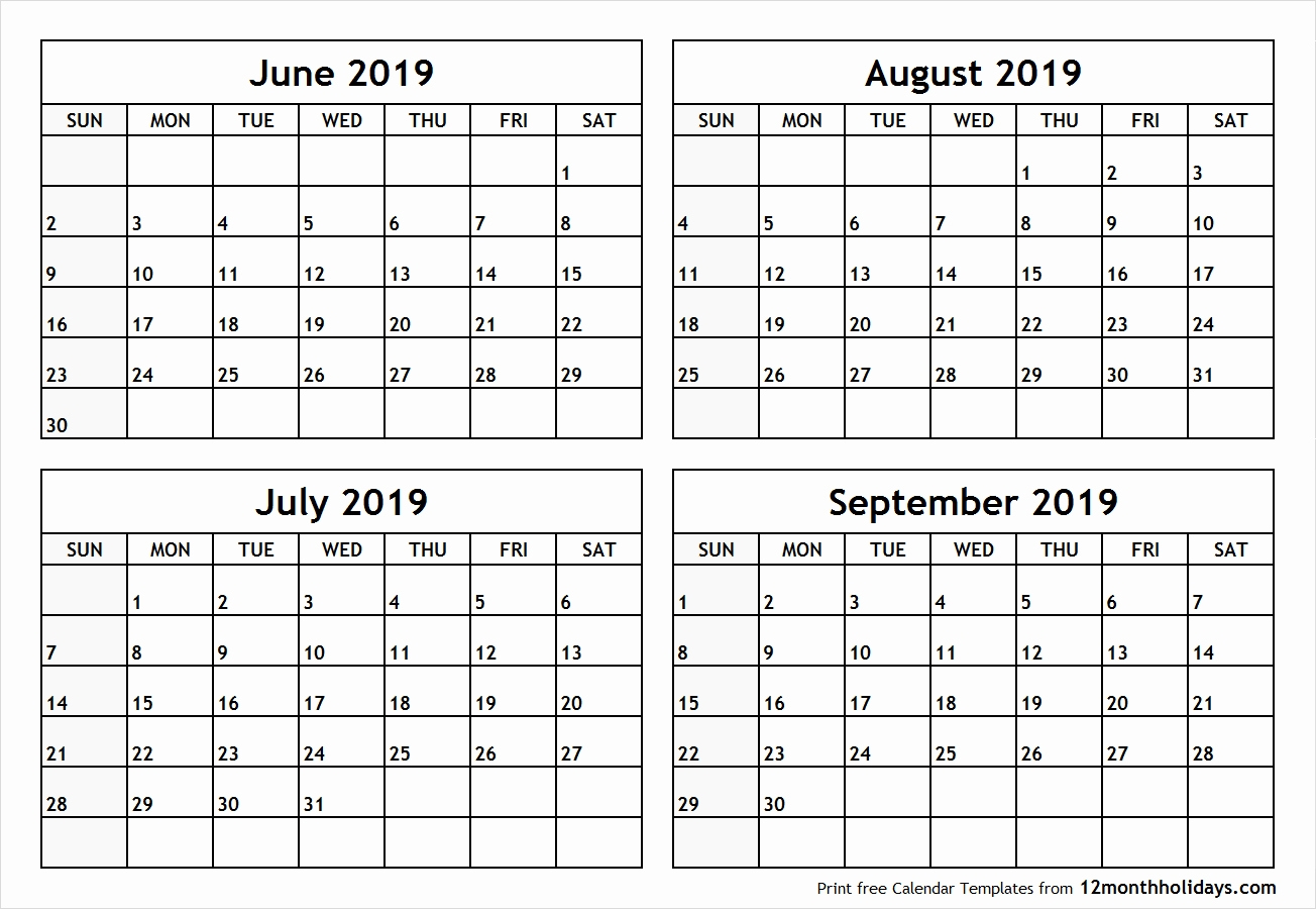 Free Printable Calendar 2019 3 Months Per Page Calendar 2019 July for 4 Months Per Page Calendar Printable