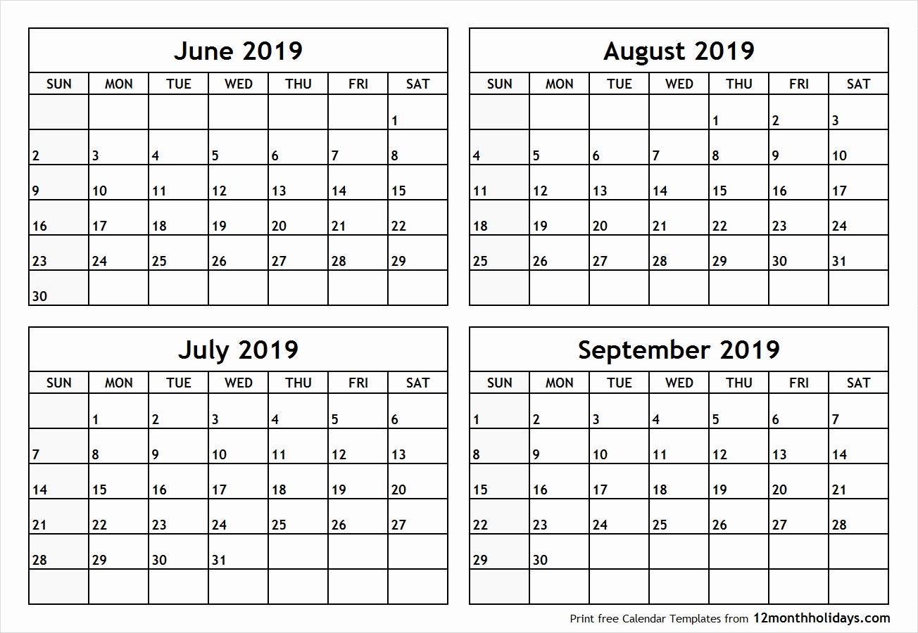 Free Printable Calendar 2019 3 Months Per Page Calendar 2019 July in 3 Month Per Page Calendar
