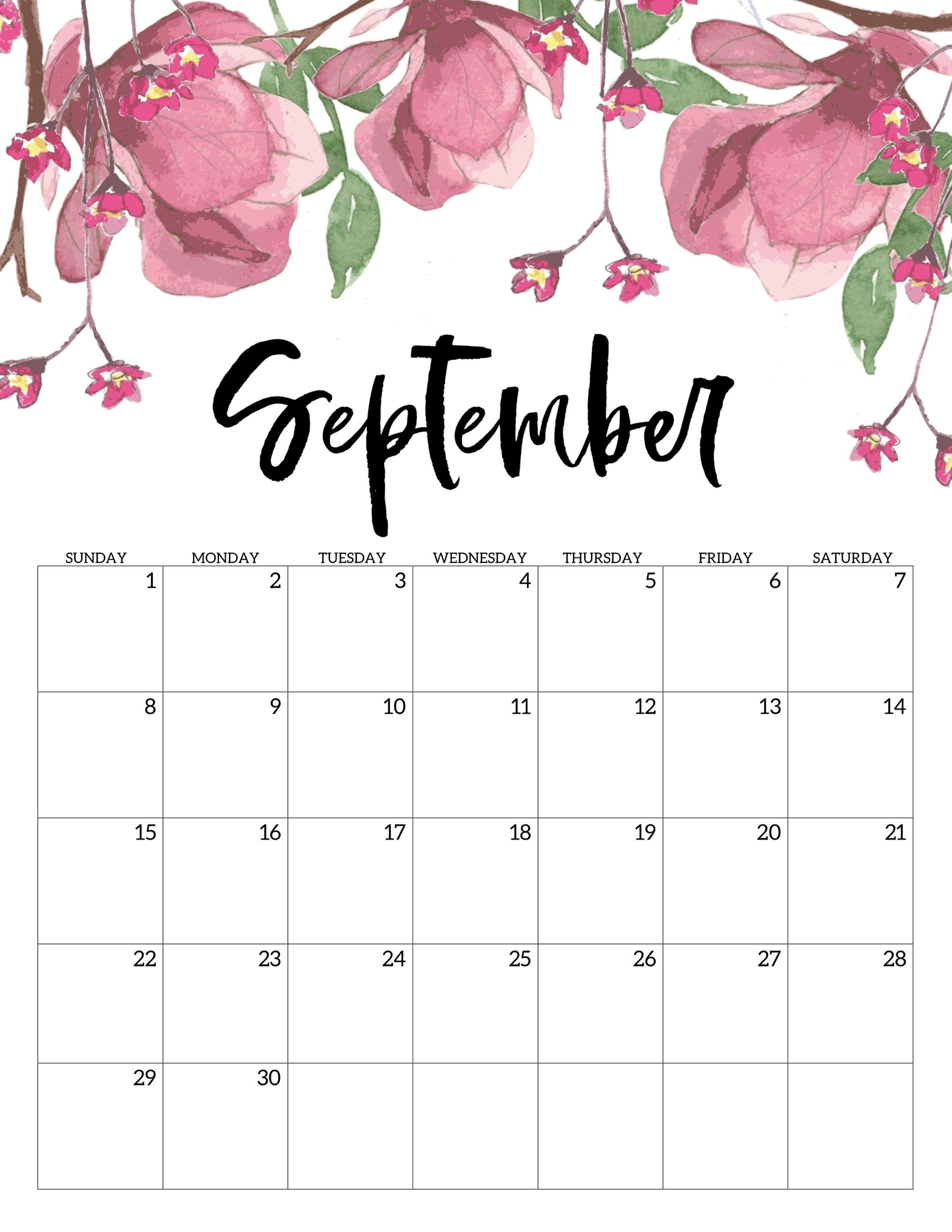 Free Printable Calendar 2019 - Floral - Paper Trail Design Fun within Monthly Calendar Watercolor Floral Printable