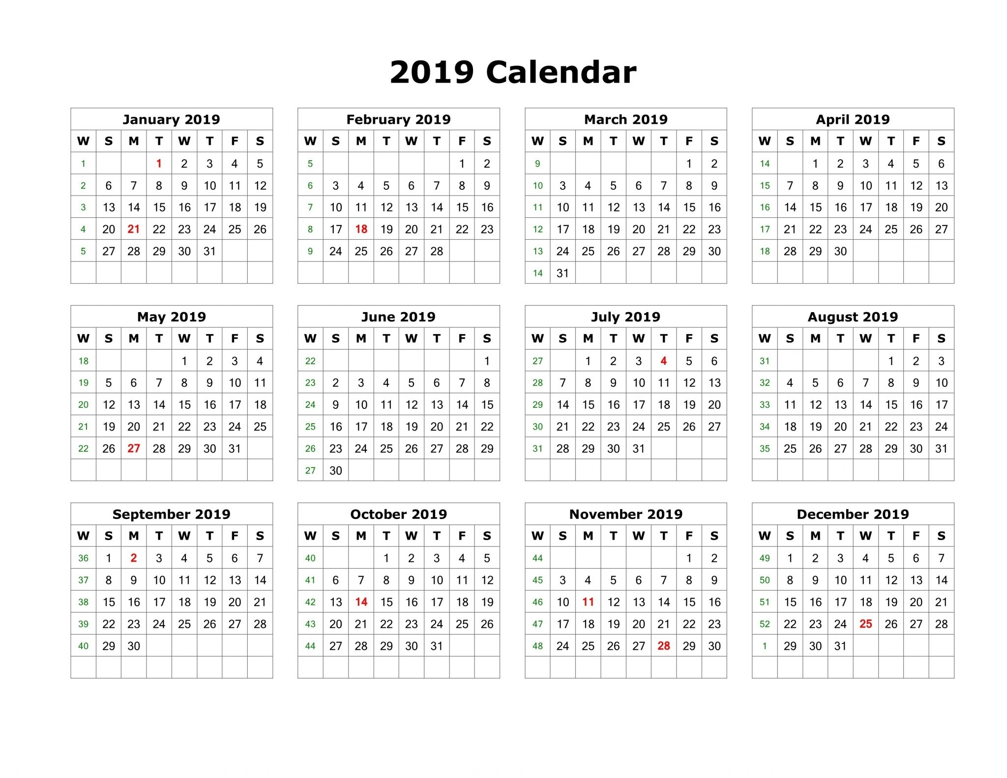 Free Printable Calendar 2019 With Holidays | Blank 12 Month Calendar intended for Blank 12 Month Calendar Printable