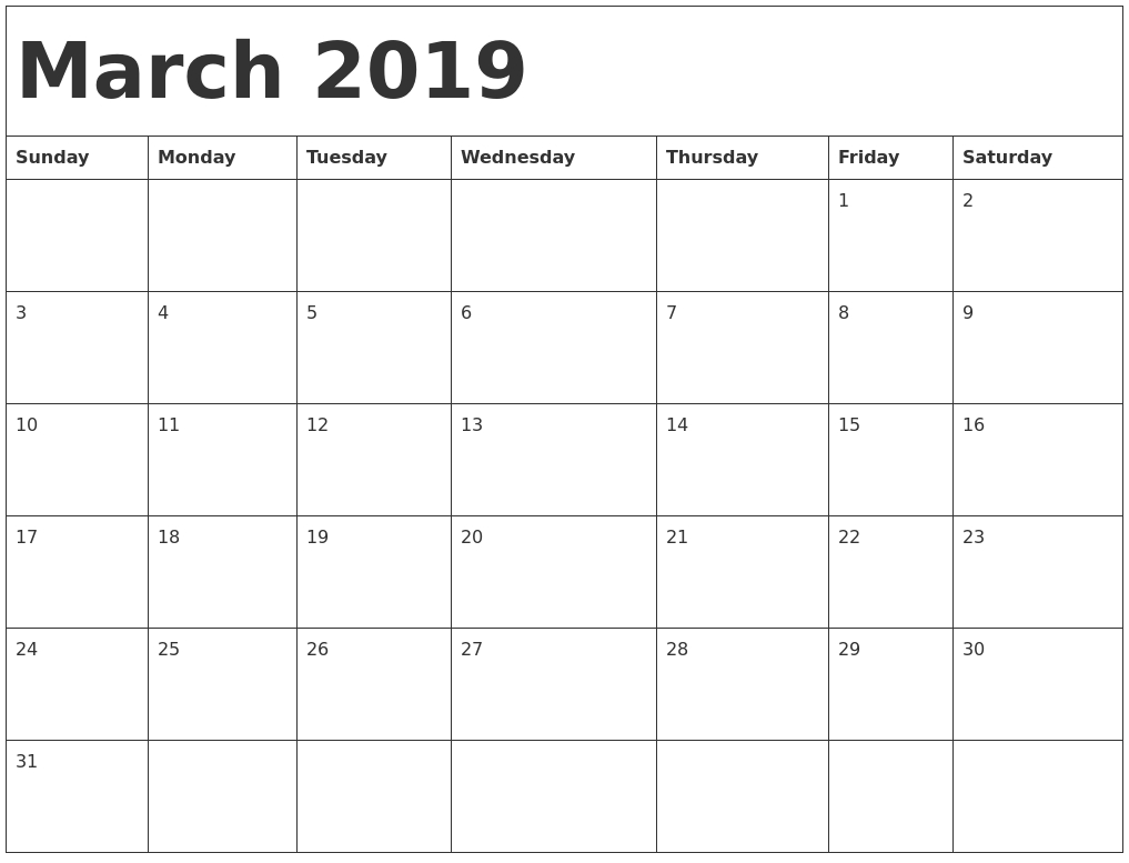 Free Printable Calendar March 2019 Pdf - Printable Calendar Templates throughout Numbers Free Printable Calendar For August