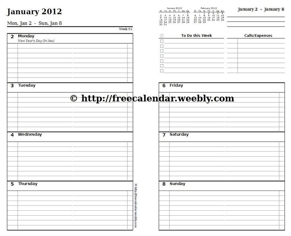 Free Printable Calendar Weekly Planner | Template Calendar Printable regarding Printable Calendar Weekly Planner Free