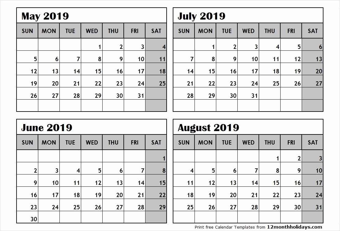 Free Printable Calendars 2 Months Per Page 2019 Free Printable 2019 with regard to 4 Months Per Page Calendar Printable