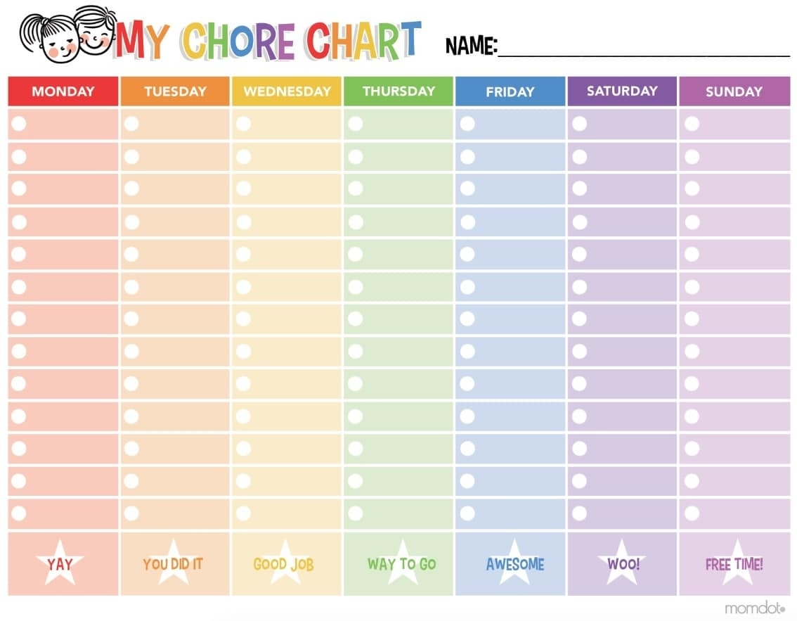 Free Printable Chore Chart - - Free Printable Chore Charts For inside Printable Monday To Sunday Chart