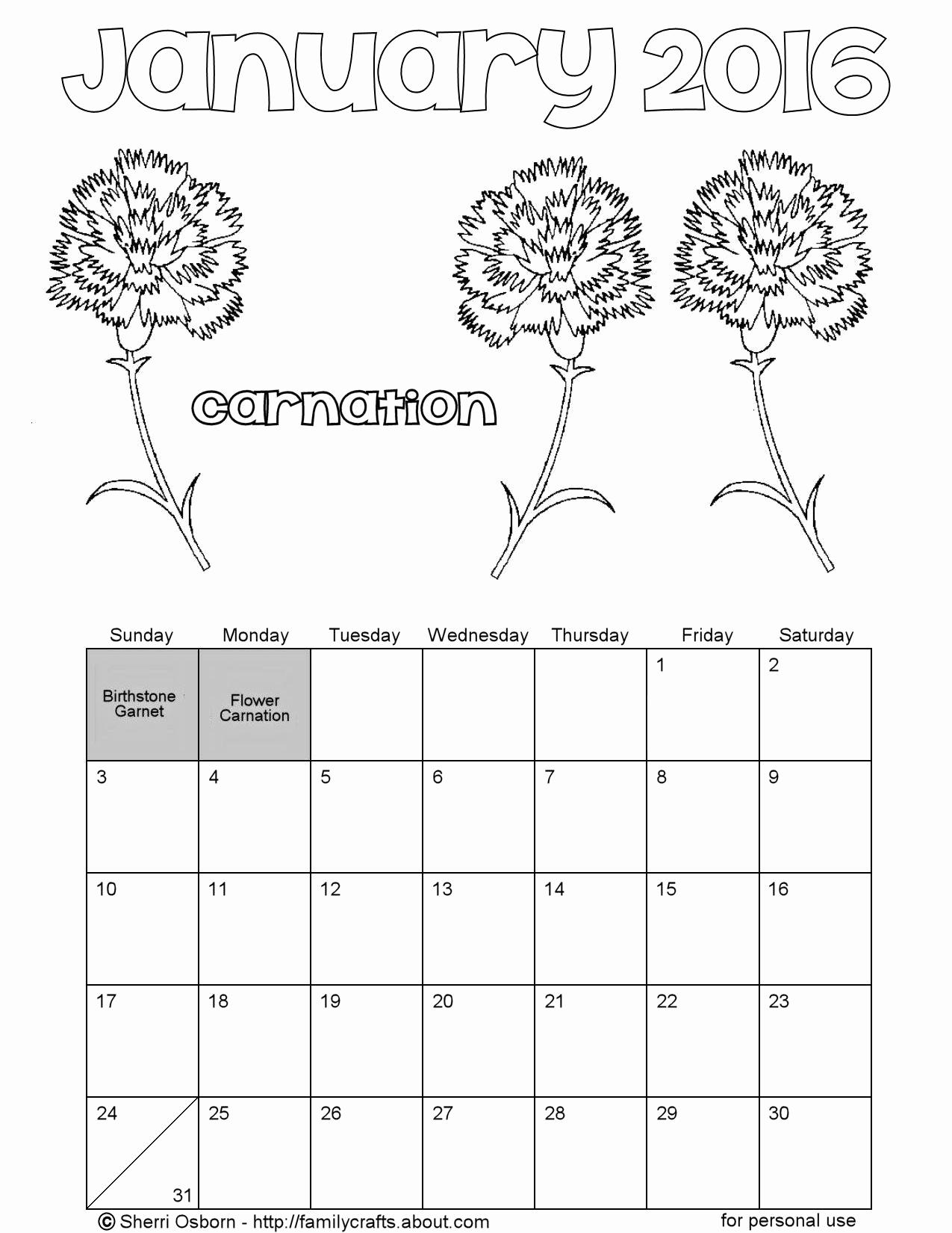 Free Printable Coloring Calendars Artistic January 2016 Printable inside Free Coloring Calendars For June