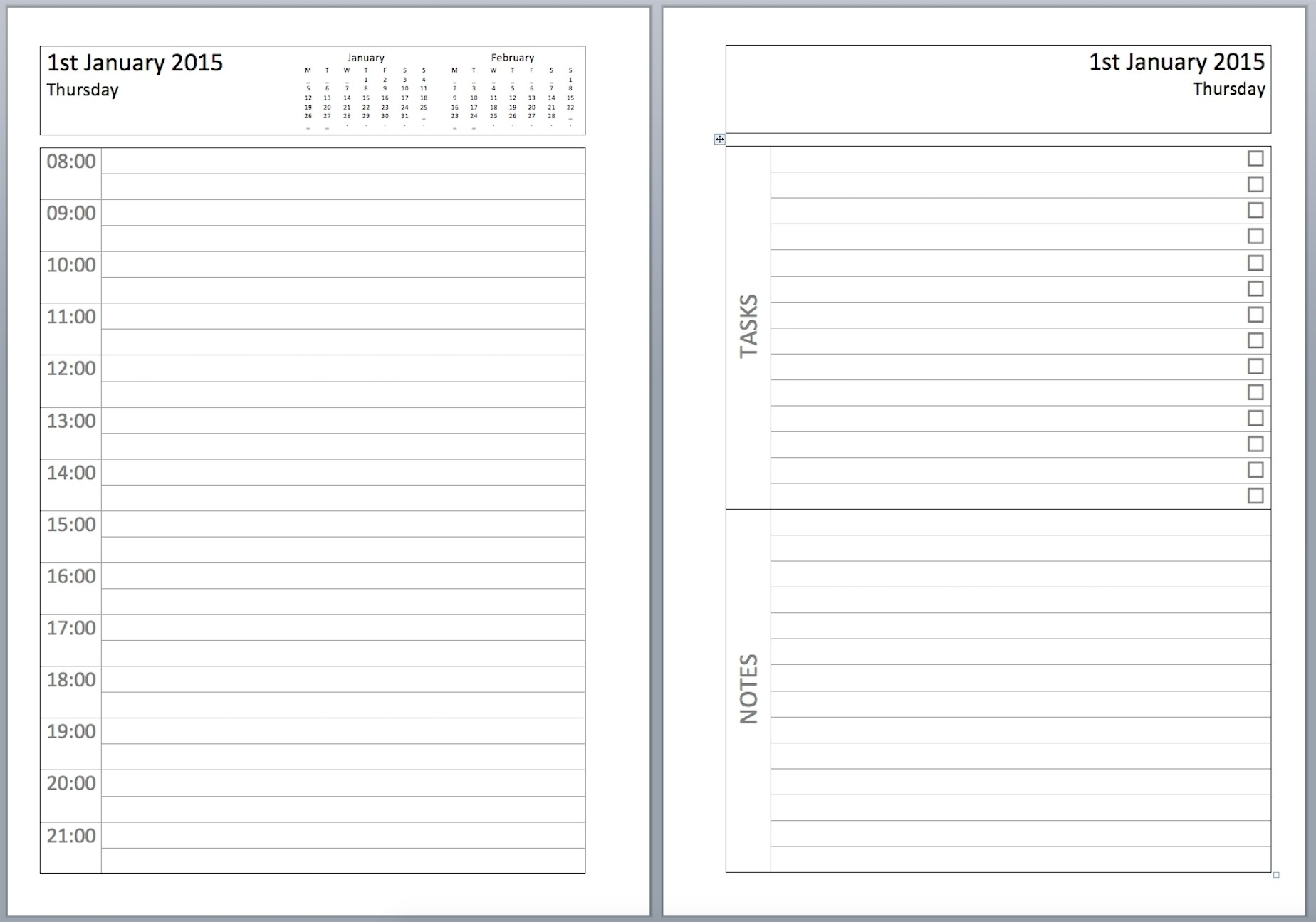 Free Printable Daily Calendar 2019 Free Daily Planner Template 2018 in Free Printable Daily Planner Calendar