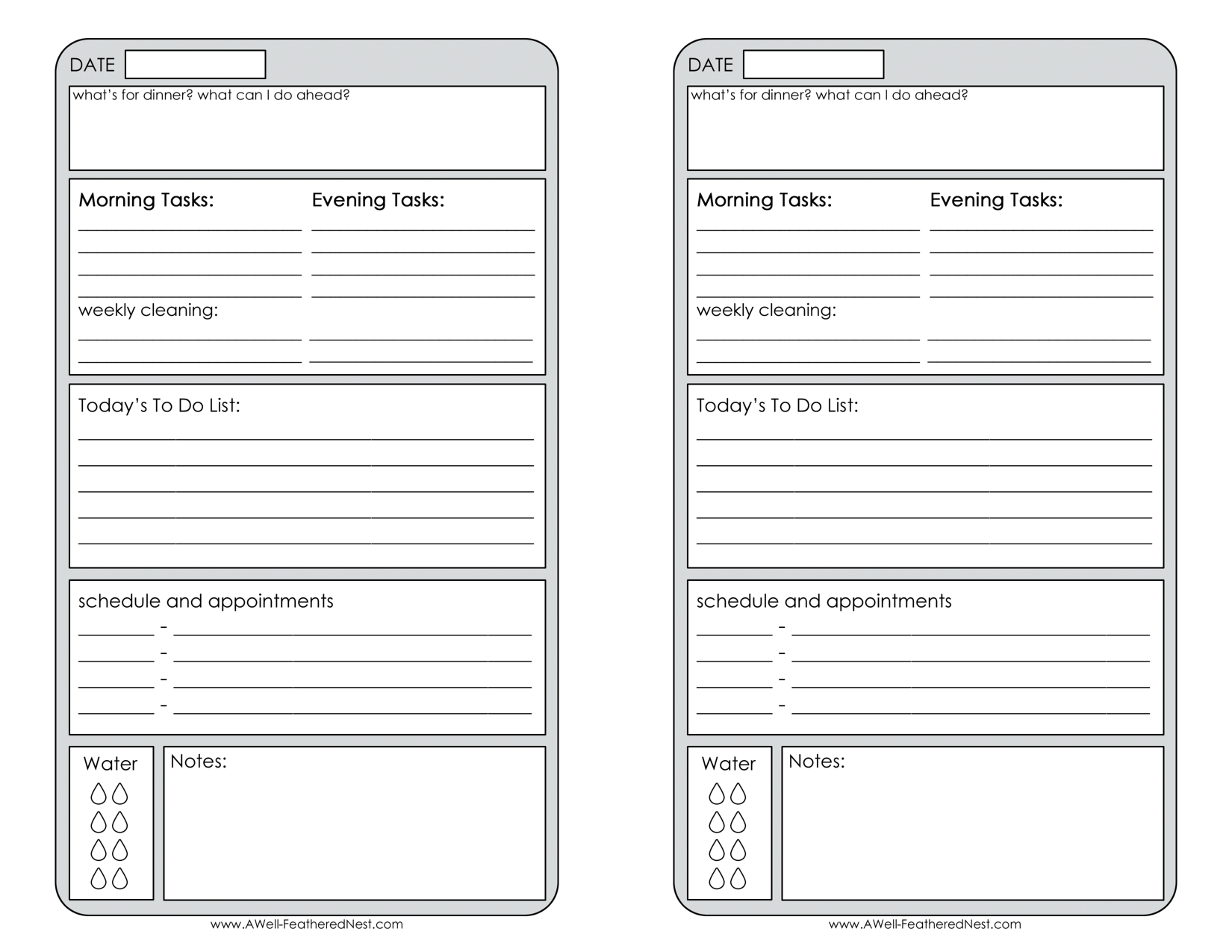 Free Printable Daily Planner   Planner Pages- Half Page   Planners inside Free Printable Daily Planner Page Half