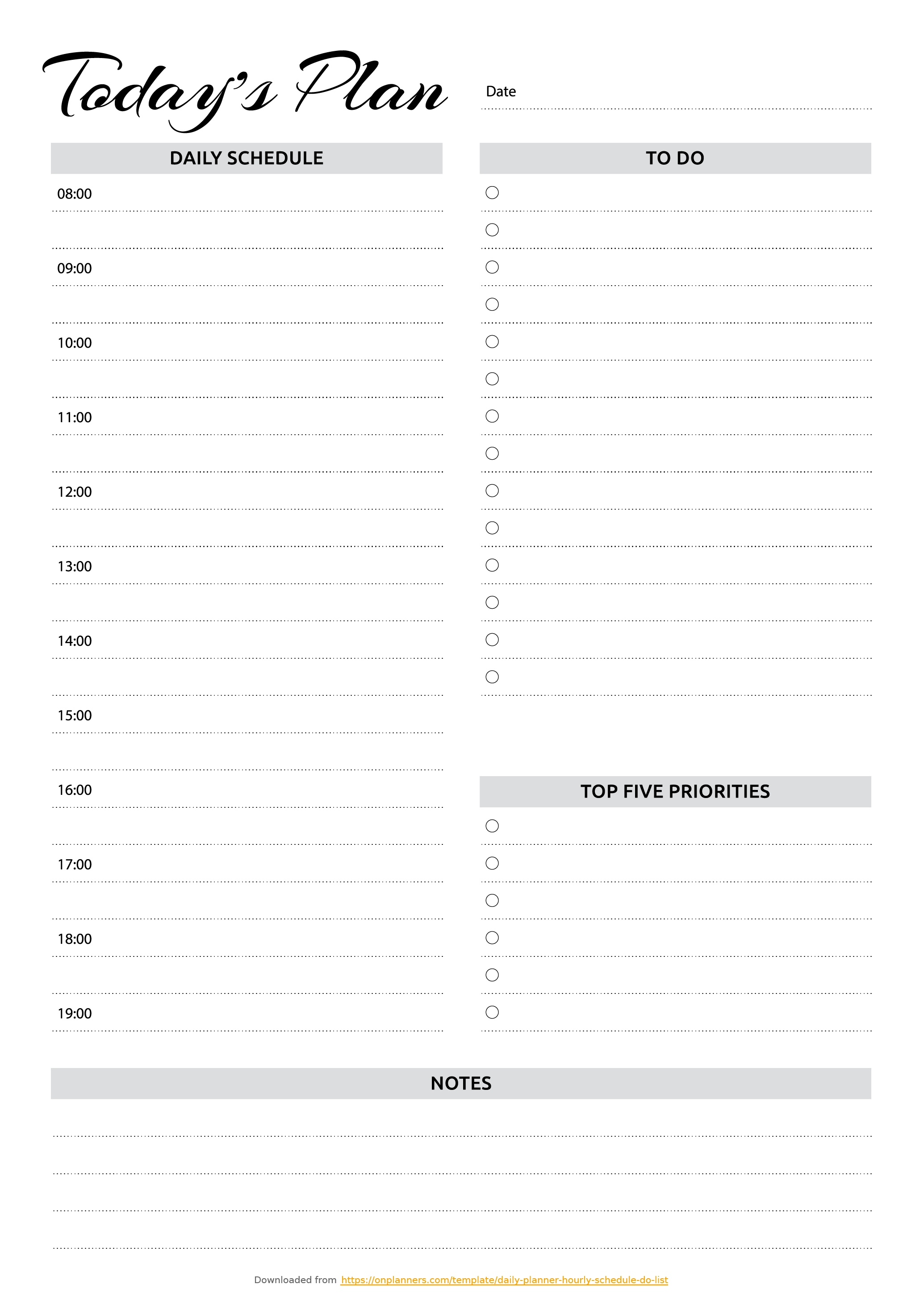 Free Printable Daily Planner With Hourly Schedule & To-Do List Pdf in Free Printable Hourly Weekly Schedule Pdf