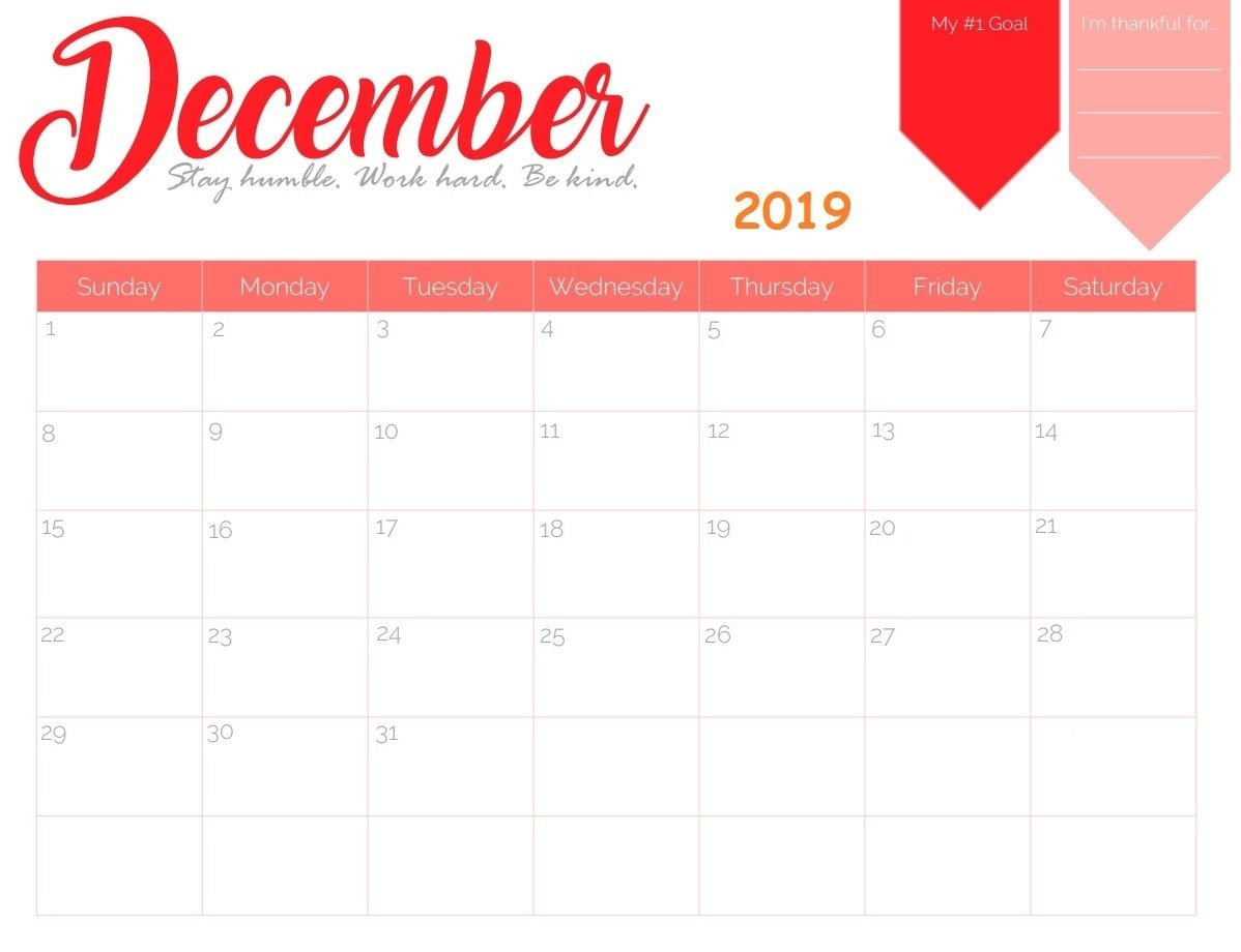 Free Printable December 2019 Calendar | Calendar 2018 In 2019 throughout Free Printable September Blank Calendars With Christian Themes