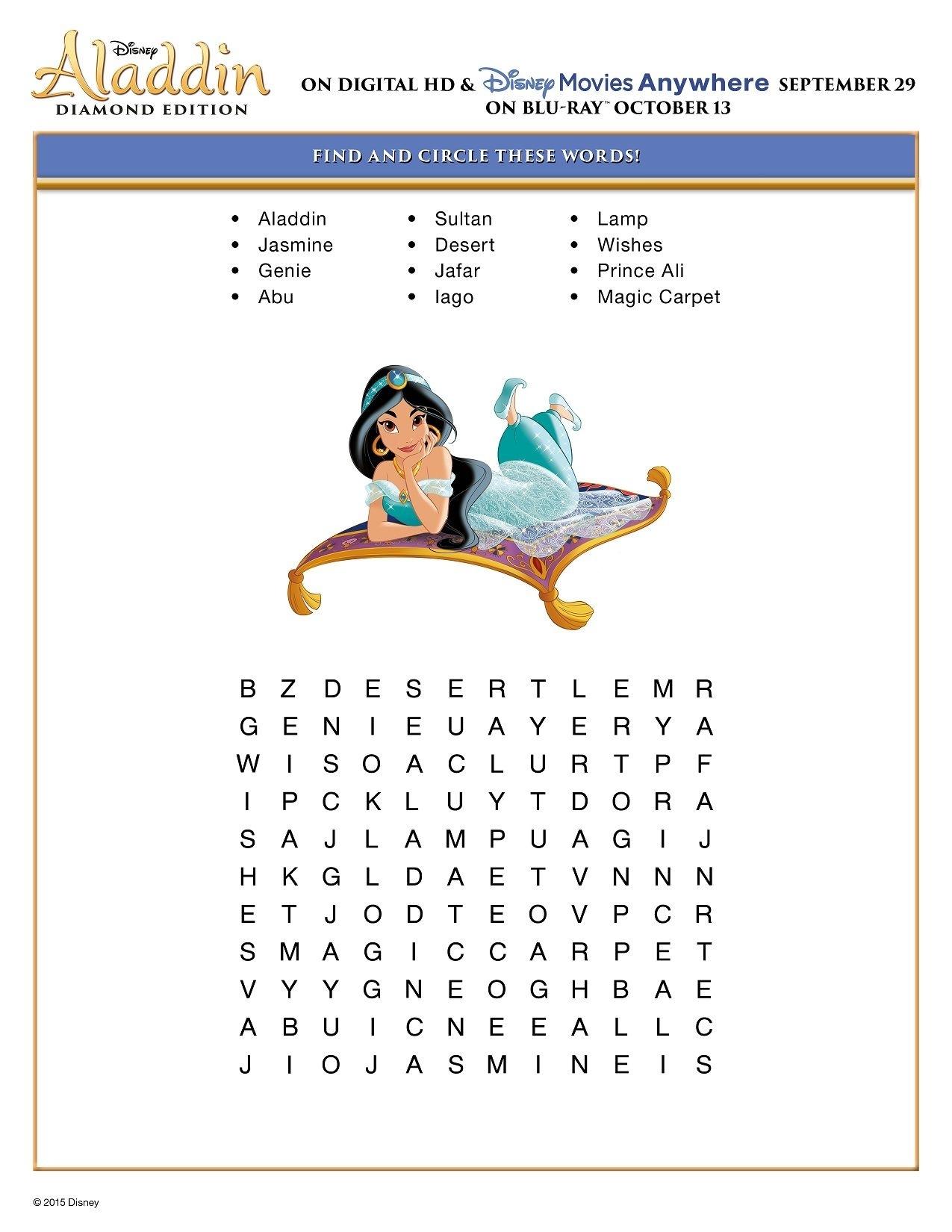 Free Printable Disney Aladdin Activity Sheets   Jasmine/aladdin with regard to Disney Princess Word Search Printable
