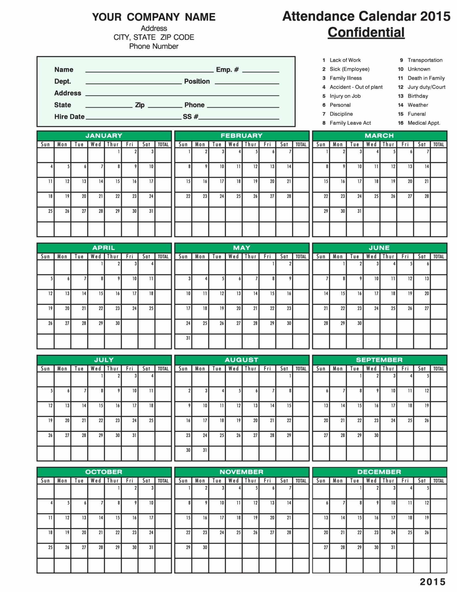 Free Printable Employee Attendance Calendar 2019 Attendance Calendar inside Free Printable Employee Attendance Calendars