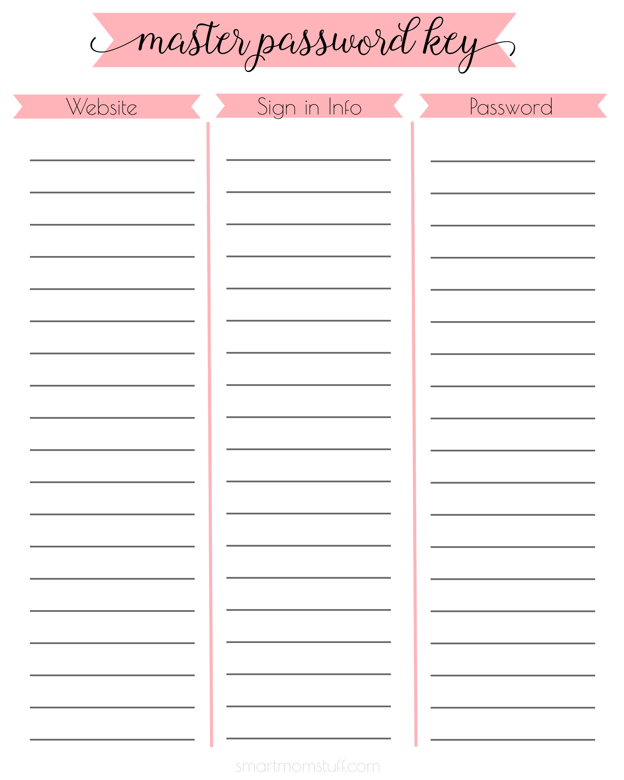 Free Printable For Master Password Keeping! From Smartmomstuff pertaining to Free Printable Password Organizer Sheets