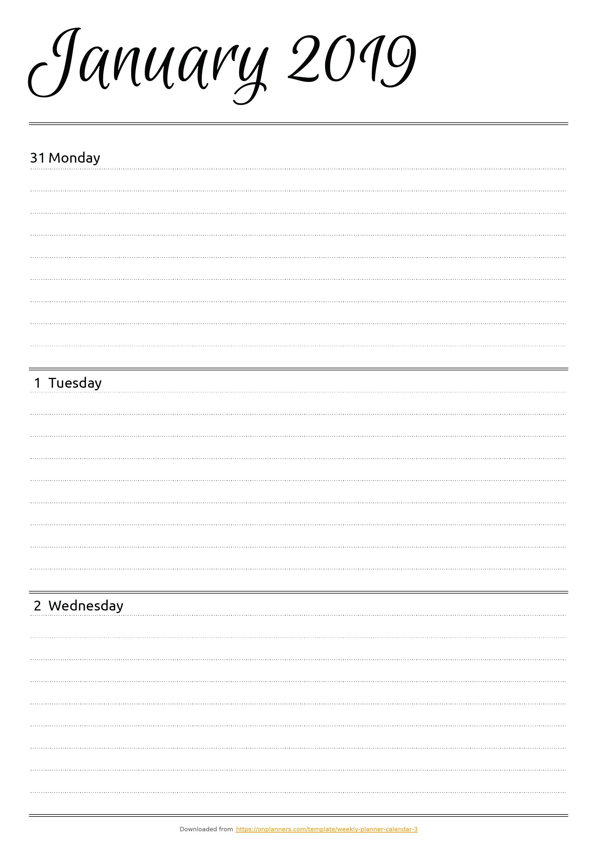 Free Printable Horizontal Weekly Planner Pdf Download throughout Free Printable Weekly Planner Templates