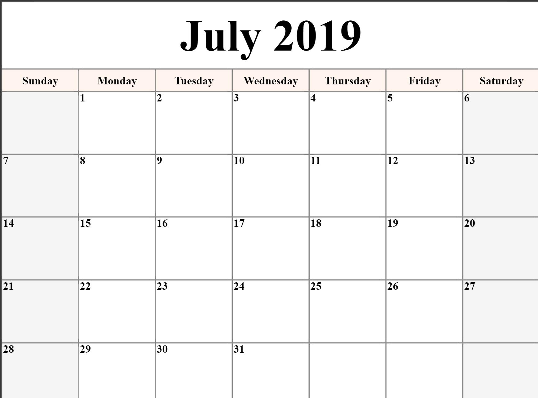 Free Printable July 2019 Calendar Download - Free Printable Calendar inside July Calendar Monday To Sunday