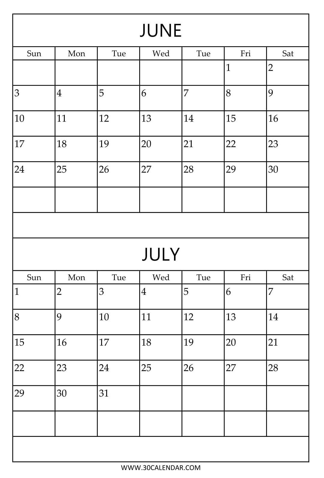 Free Printable June July Calendar Template | 2018 Calendar | July for Printable June And July Calendar