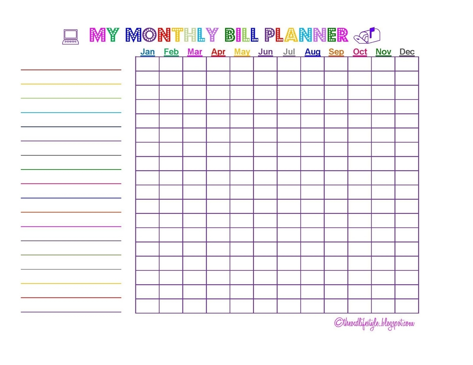 Free Printable Monthly Bill Chart | Template Calendar Printable throughout Free Printable Monthly Bill Chart
